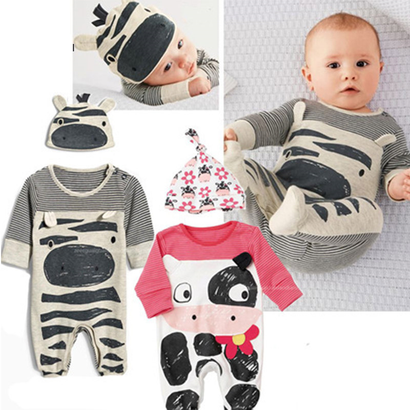 2016 New Baby Animal Rompers Long Sleeve Cute Baby Girl Clothes Newborn Clothing Casual Baby Boys Clothing Infant Suit Toddler newborn baby girl rompers cute cartoon animal print clothes cotton long sleeve clothing set infant costumes baby boys clothes