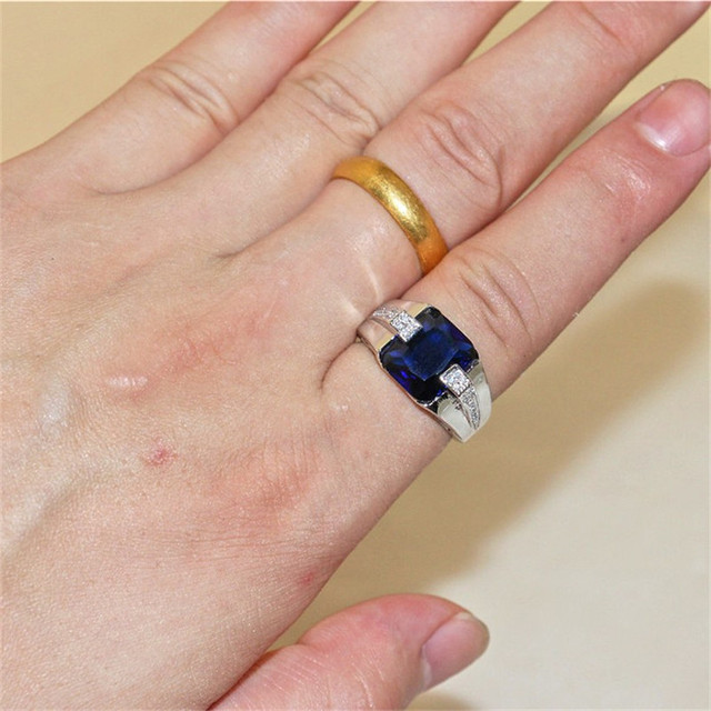 Classic 925 streling Silver Square Blue Sapphire Rings Eternal Cocktail Wedding ring for Men Wome jewelry boy Size 8-13