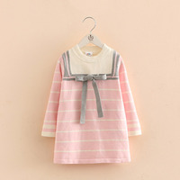 New Spring Fashion Baby Girls Princess Dress Kids Cotton Knitting Dresses Long Sleeve Stripe Clothes With Bowknot