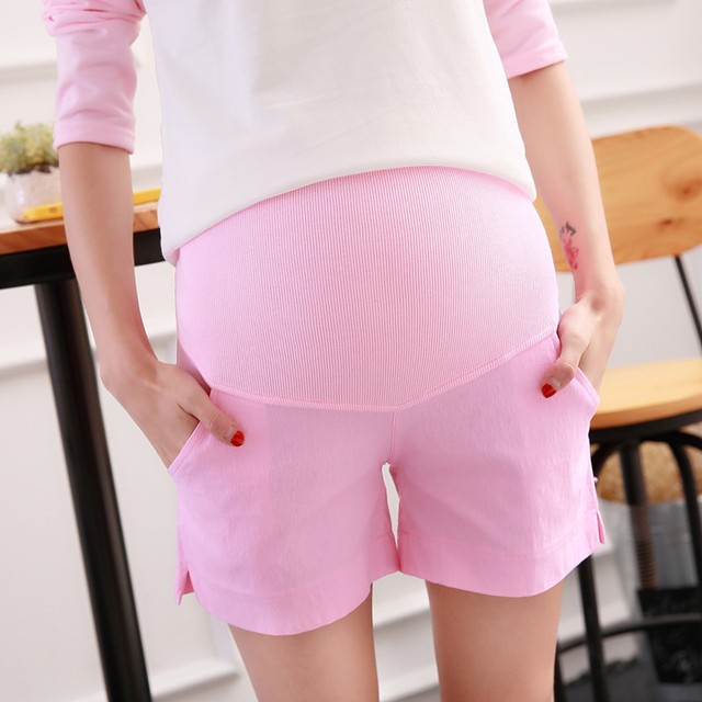 Verano 2017 de las mujeres de maternidad pantalones cortos de algodón elástico del color del caramelo simple vientre Prop pantalones de cortocircuitos ocasionales