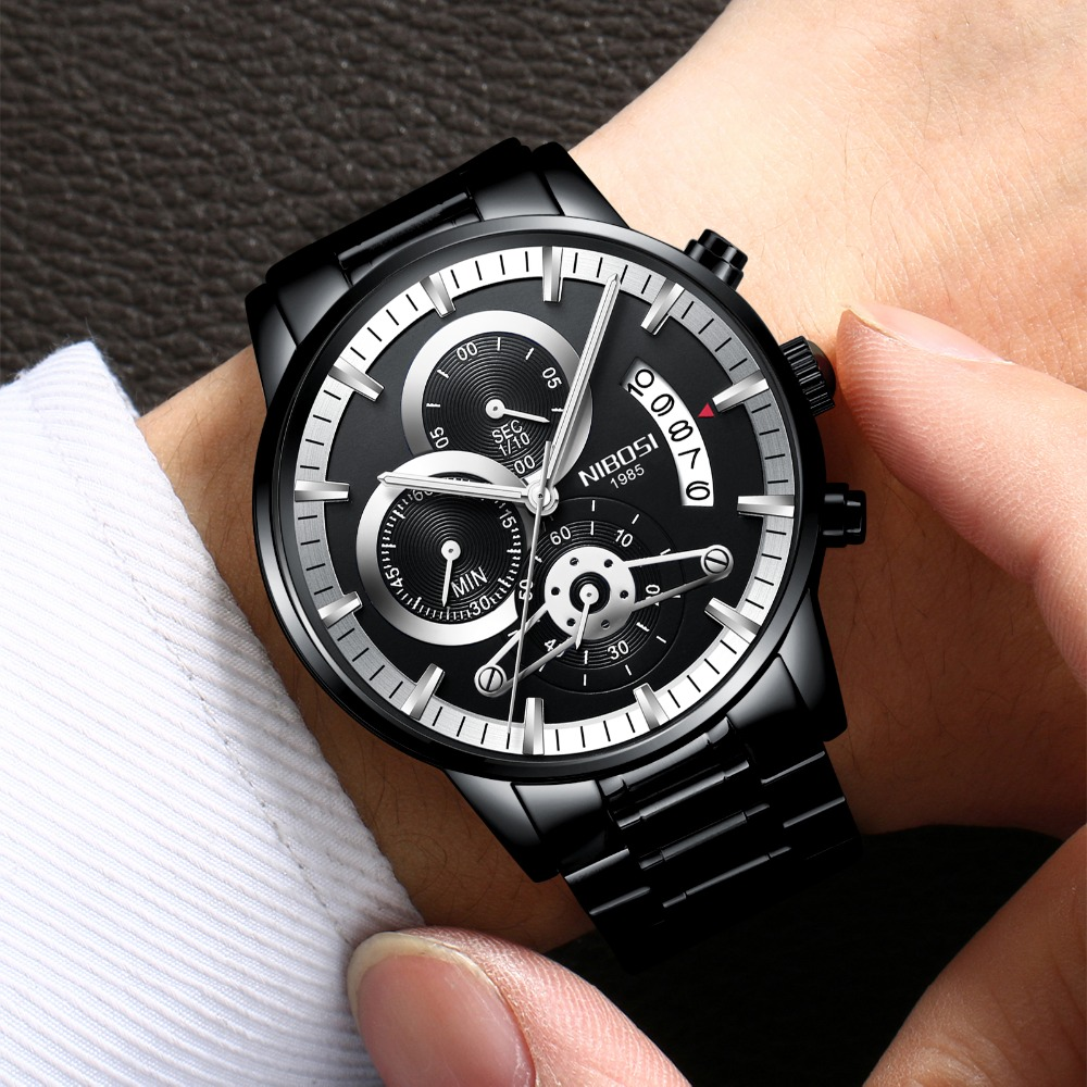 NIBOSI Men Watches Luxury Top Brand 2018 New Business Fashion Quartz Military Sport Wristwatch Waterproof Stainless Steel Band xinge top brand luxury leather strap military watches male sport clock business 2017 quartz men fashion wrist watches xg1080