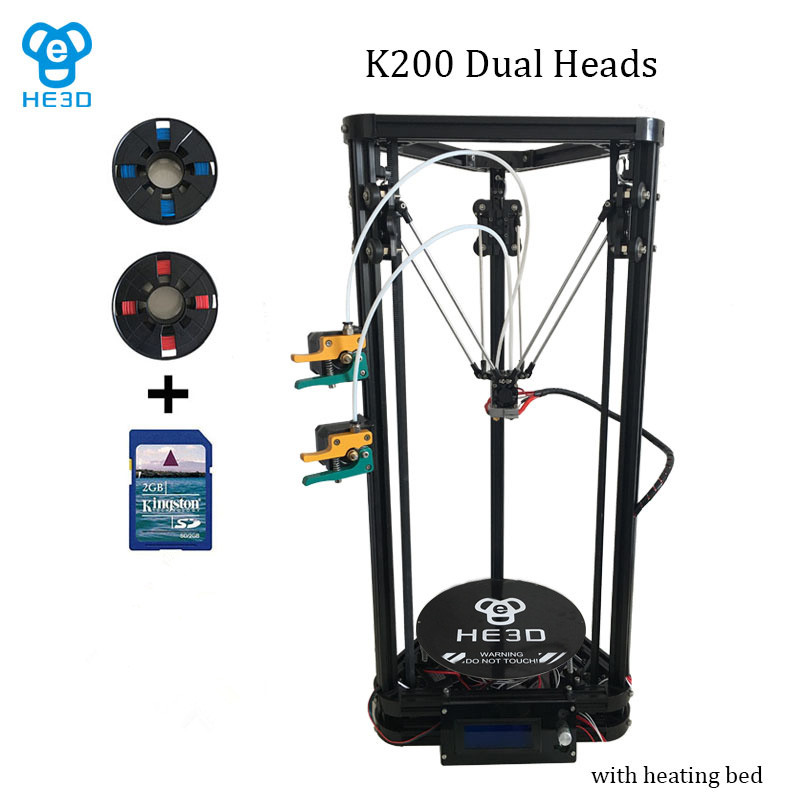 New upgrade HE3D high presicion K200 dual aluminium extruder delta diy 3D printer with heat bed supporting multi filaments he3d heat bed upgrade kit for k200 3d delta printer