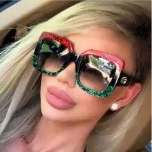 5eb0c530c Phoemix كبير إطار مربع النظارات الشمسية النساء الايطالية العلامة التجارية  مصمم الشمس نظارات الإناث 2018 الأحمر الأخضر Oculos الس.