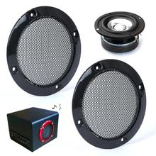 2pcs 3″ Inch Black Circle Speaker Decorative Circle w/Black Protective Grille Mesh