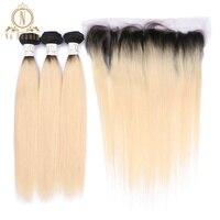 Бразильский Пряди человеческих волос для наращивания 1B 613 блондинка Цвет прямые 3 Связки с 13*4 закрытие кружева фронтальной не Волосы remy пред