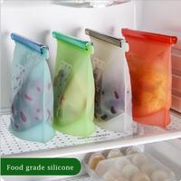 5PCS 18*20cm Reusable Seal Silicone Food Fresh Bag Vacuum Sealer Fruit Meat Milk Storage Bags Saran Wrap Plastic Bags