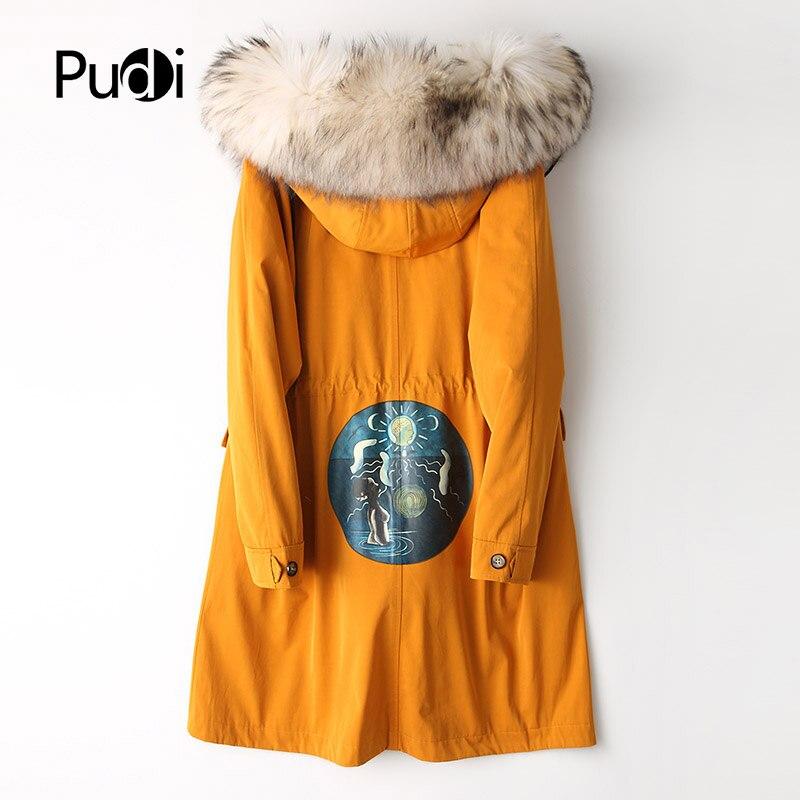 Lady Femmes Chaud Hiver Polyester Veste Blue Manteau Raton De Pudi Pardessus Laveur Parka red A68733 Renard Réel Col yellow Coton Avec Fourrure Bwxta