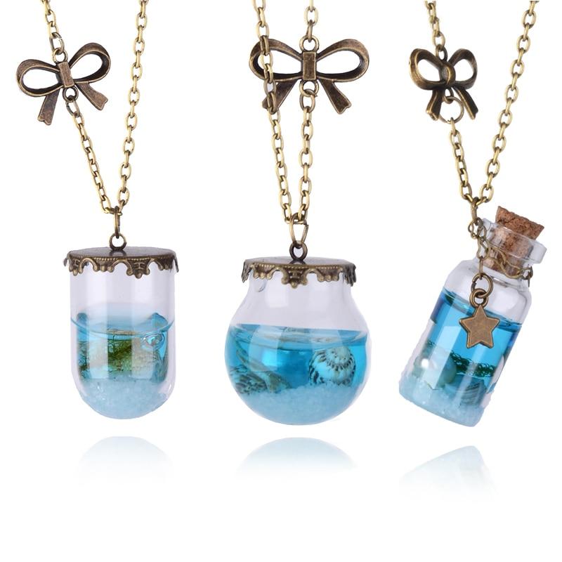Fashion Women Sea Ocean Necklace Glass Wish Bottle Pendant Chain Jewelry Gift