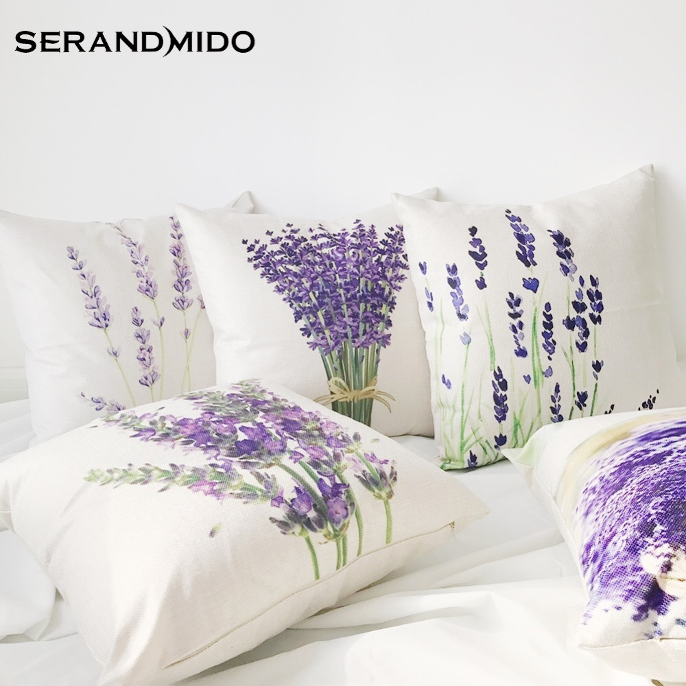 hot selling purple lavender flowers waist cushion cases elegant linen cotton pillow covers for bedding home decor smc1731t90