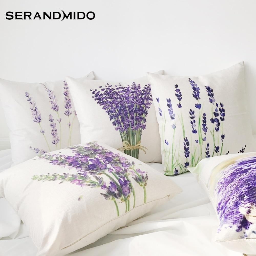 Hot Selling Purple Lavender Flowers Waist Cushion Cases Elegant Linen Cotton Pillow Covers For