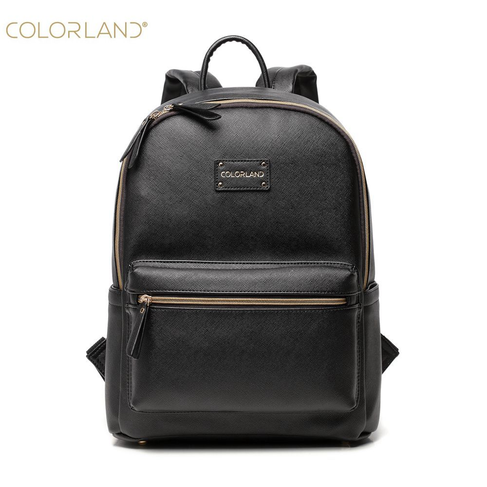 COLORLAND Diaper Bag PU leather Mom backpack Nappy Bags Maternity Changing Bag Wet Infant Mommy Baby