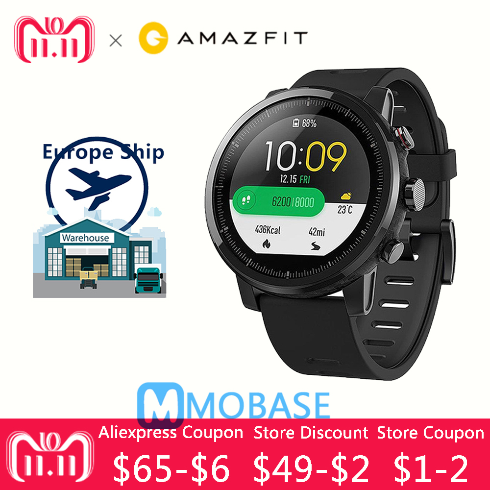 xiaomi mi huami amazfit smart watch stratos 2 english version sports smartwatch with gps ppg heart rate monitor 5atm waterproof Huami Amazfit Stratos Smart Watch Pace Amazfit 2 GPS Sport Watch Men Watches PPG Heart Rate Monitor 5ATM Waterproof