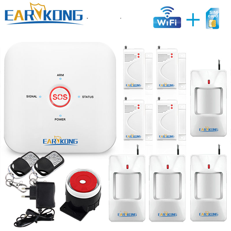 Wifi GSM Alarm System APP Home Burglar System 433MHz Door Window Open Motion Sensor Alarm ONE KEY Alarm English Russian Spanish цена