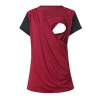 D1546 women Maternity pregnant Nursing T Shirts Tops Short Sleeve Round Neck Breastfeeding clothing for pregnant women Blouse
