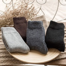 Фотография 5 Pair Men Socks Solid Color Wool Classical Businness Casual Socks Autumn Winter Excellent Quality Breathable Male Sock Meias