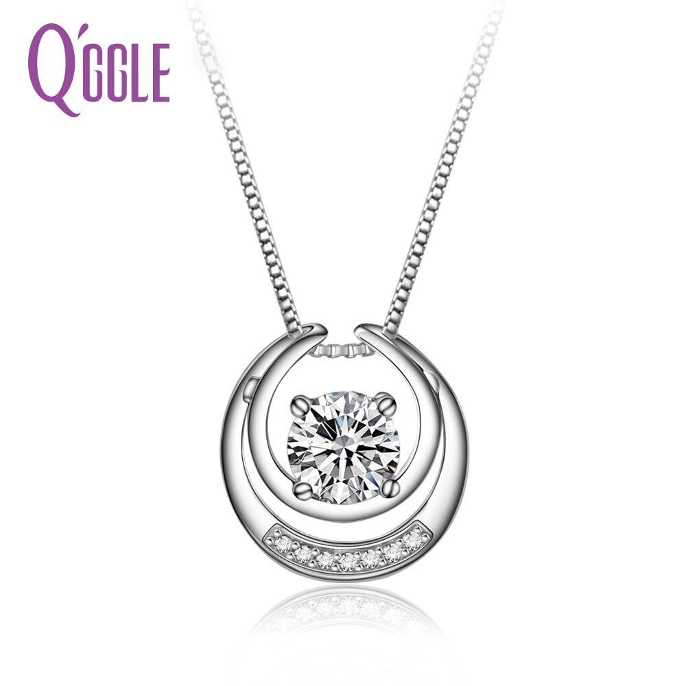 QGGLE Micro Pave CZ Zircon Lune Forme Véritable 925 Bijoux En Argent Sterling Pendentif Collier Femmes TN902