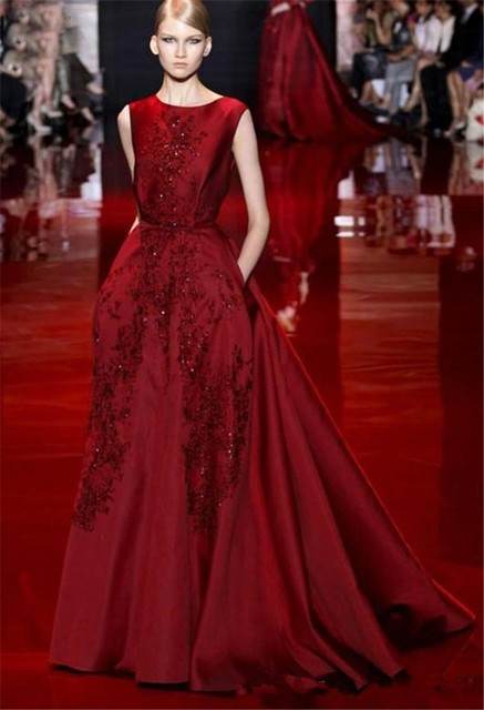 2017 Elie Saab Celebrities Dresses Burgundy Appliques Court Train Backless Runway Carpet Prom Party Evening Dress
