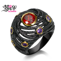DreamCarnival 1989 Unique Engagement Ring For Women Black Gold Color Hip Hop Party Jewelry Red Purple