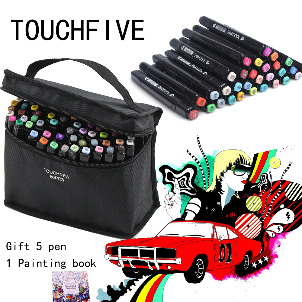 цена на Professional Sketch Painting Marker Alcohol Oil Graffiti Color Pen 80 Color Hand-Painted Art Marker Set Double Head Marker Comic