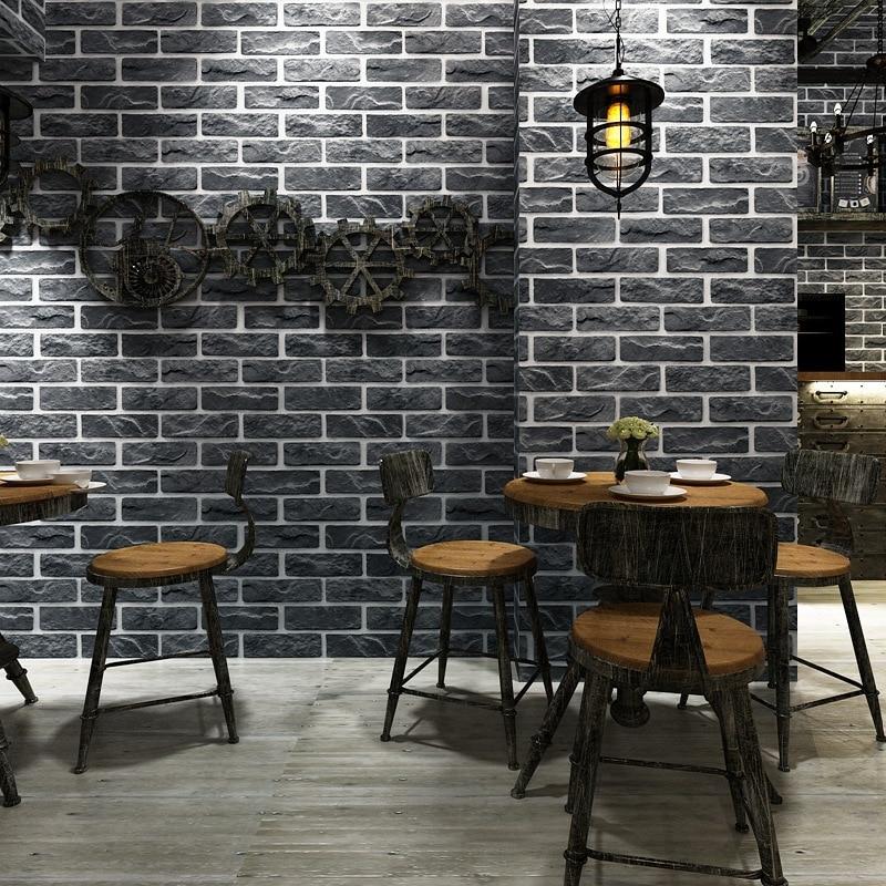 Image 4 - Customized 3D stereo Retro imitation brick wallpaper coffee cafe restaurant bar red brick wallpaper household improvement decorWallpapers   -