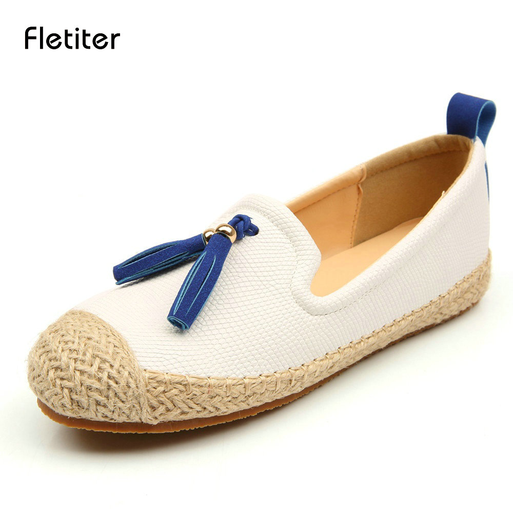 Fletiter 2018 Spring Shoes Women Loafers Round Toe ...