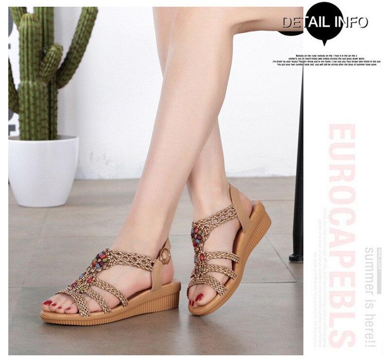 HTB1lVRbTwHqK1RjSZFgq6y7JXXaI YAERNI 2019Ethnic Women sandals summer woven sandals breathable women wedge sandals zapatos mujer size 35-42E969