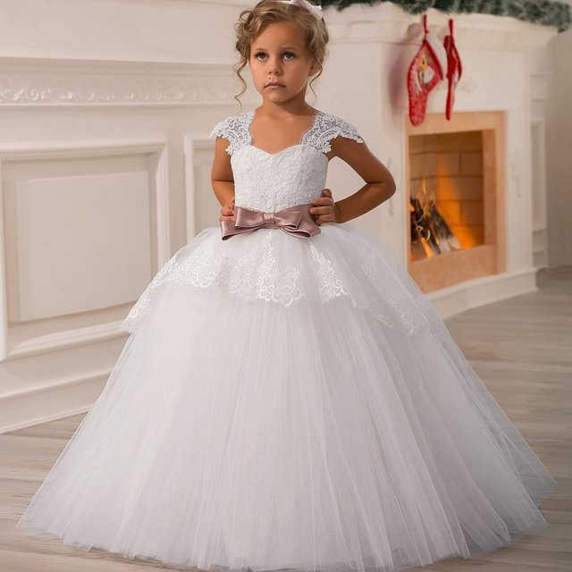 febff55ec TPSAADE Princess Cap Sleeve Lace Ball Gown Flower Girl Dress White Floor  Length Tulle Pageant First Communion Dresses