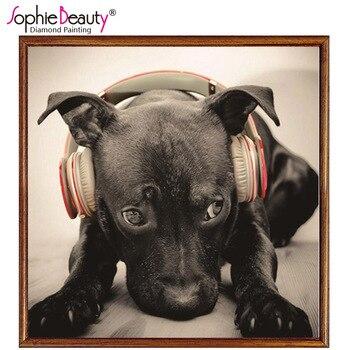 Sophie belleza Diy diamante pintura Cruz puntada ronda completa artesanía amor alma música perro negro bordado artístico kit para hacer mosaicos