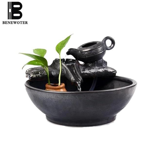 110/220V Home Cha Hai Ceramic Teapot Water Fountain Office Zhao Cai Feng  Shui Decoration