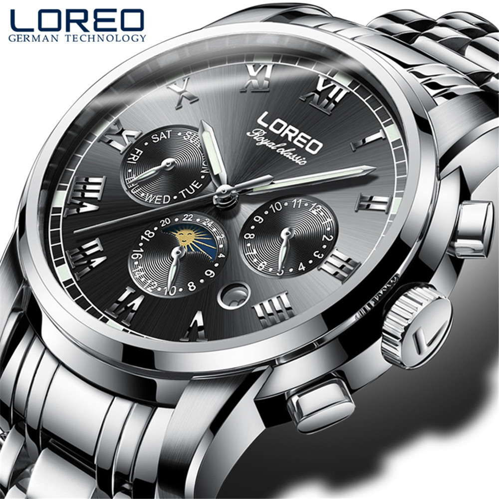 LOREO Men Automatic Mechanical Watch Fashion Brand Sapphire Luminous Casual Military Sports 50M Waterproof Watches Relogio loreo mechanical watch men 50m diving luxury brand men watches tourbillon skeleton wrist sapphire automatic watch waterproof