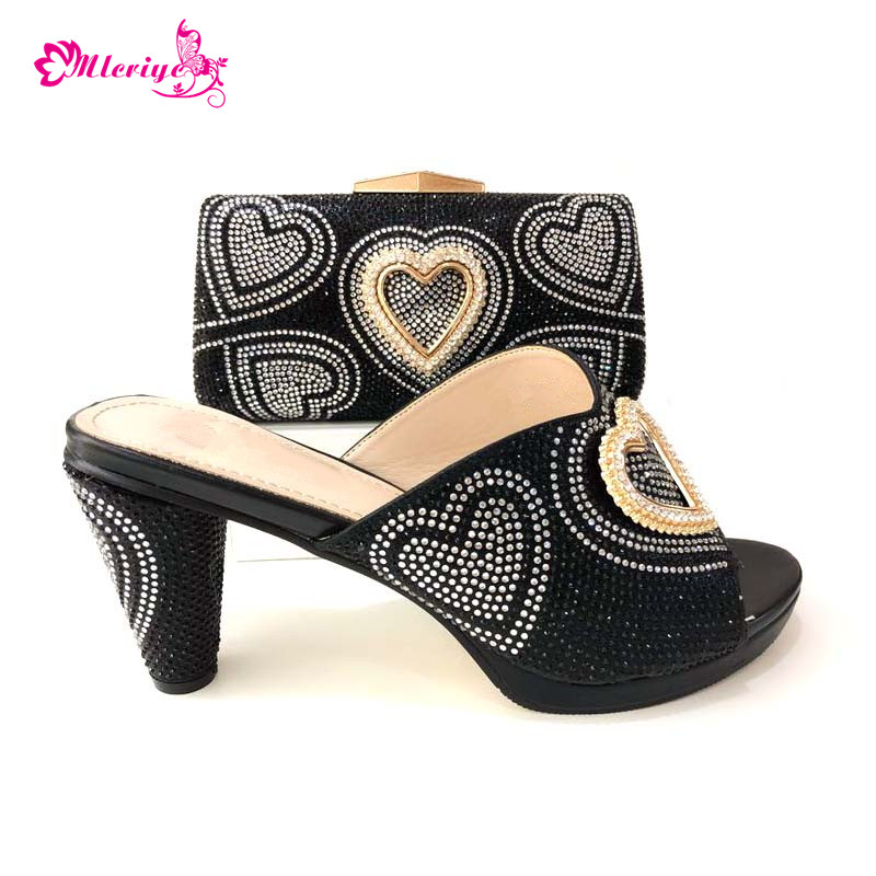 New Arrival Italian Matching Shoe and Bag Set for Wedding Set Decorated with Rhinestone Shoes and Bag Set African Sets 2018 цена