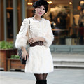 2016 Lady Real Sheared Rabbit Fur Coat Jacket 3/4 Raccoon Fur Sleeve  Autumn Winter Women Fur Outerwear Coats Clothing VK3108