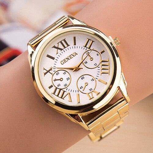 Women's Luxury Geneva Roman Numerals Golden Alloy Quartz Analog Wrist Watch 6KGN retro gobren roman numerals silver plated 2 sides carving elegant pocket watch mens analog quartz fob waist women luxury watch