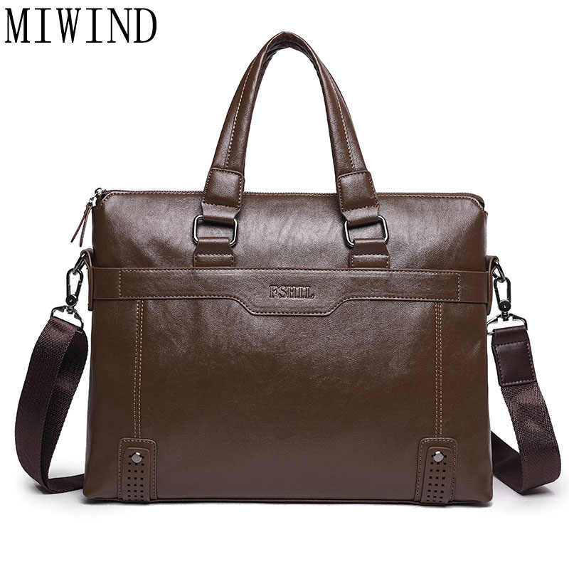 Brand Bag Men Casual Briefcase Business Shoulder Bag Men Leather Laptop Tote Bags Handbag TMH601