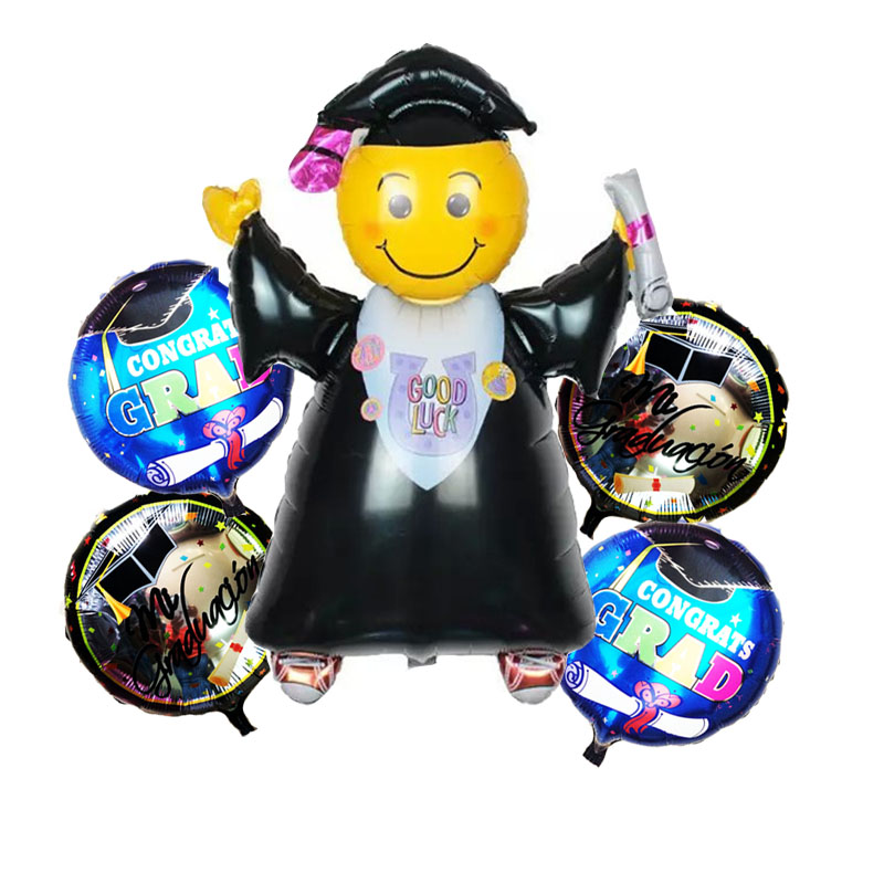 5pcs/lot Good Luck Graduated Doctor Foil Balloons Graduation Ceremony Party Decorations inflatable Helium Ballons Classic Toys