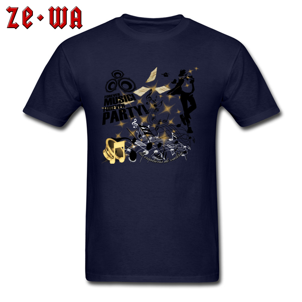 New Arrival Forever Music Party Printed Top T-shirts Round Collar 100% Cotton Men Tops Shirt Short Sleeve T Shirts ostern Day Forever Music Party navy