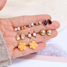 L&H 9Pairs Luxury Gold Water Droplet Earrings Set Delicate Crystal For Women Bohemia Orange Flower Female Stud