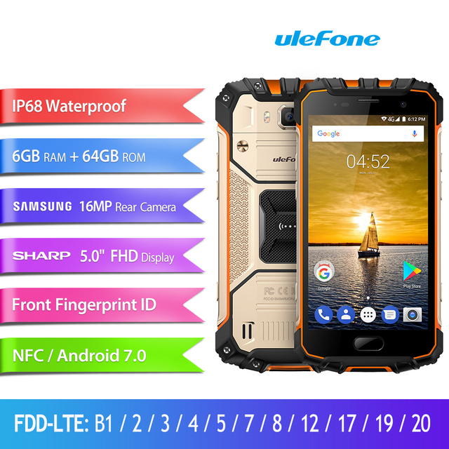 big sale 23ca2 8b37b US $249.99 |Ulefone Armor 2 Smartphone MTK Helio P25 Octa Core Android 7.0  Mobile Phone 6GB+64GB IP68 Waterproof CellPhone 4G 16.0MP NFC -in Mobile ...