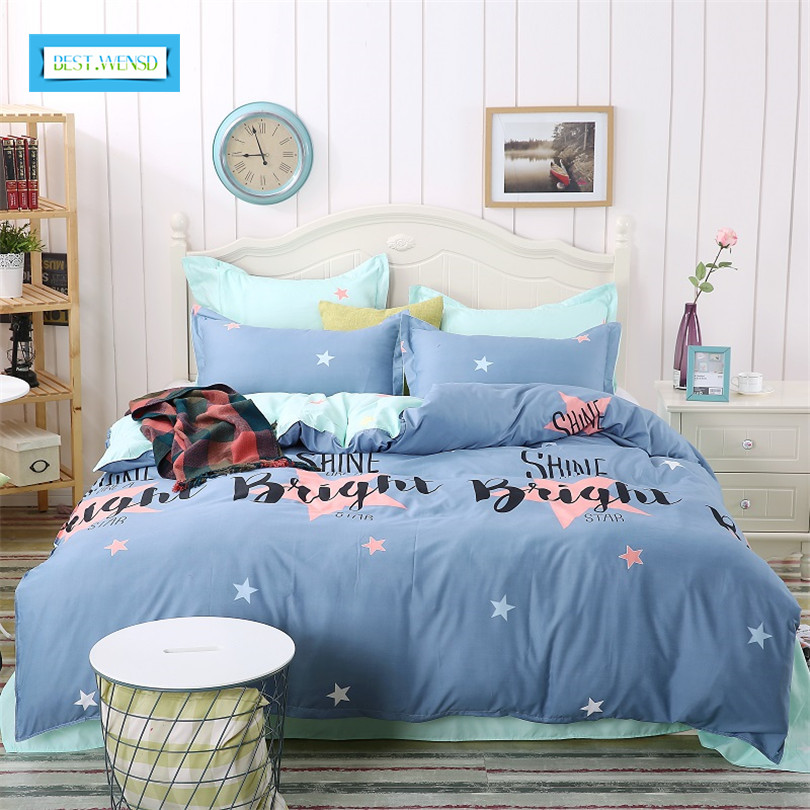 BEST.WENSD Family Bed Linens 100%Cotton High Quality City Of Star Blue Simple Style Bedding Set For 1 or 2 Person Duvet CoverBEST.WENSD Family Bed Linens 100%Cotton High Quality City Of Star Blue Simple Style Bedding Set For 1 or 2 Person Duvet Cover