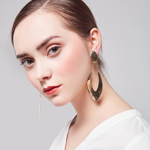 где купить 2018 New high quality polished earrings for woman in stud Shiny Plated earrings in  big drop punk party free shipping wholesale по лучшей цене