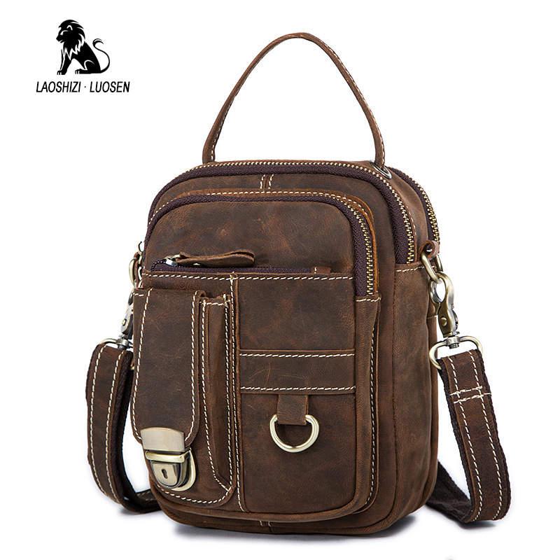 LAOSHIZI Crazy Horse sac en cuir véritable pour hommes rabat mâle Vintage sacs à bandoulière petit homme sacs à bandoulière pour hommes sac Messenger 2018