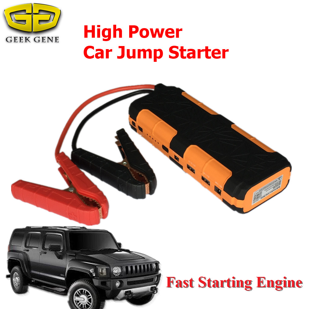 Multi-Function 15000mAh Car Jump Starter Charger Fro Car Battery Portable 12V Starting Device Top Power Bank SOS Light Free Ship  2017 high capacity 15000mah car jump starter portable 12v car battery booster charger mobile 2usb power bank sos light free ship