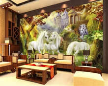 beibehang Classical interior painting stereoscopic wallpaper European style forest white horse background wall papers home decor