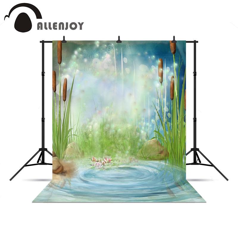 Allenjoy 사진 배경 연못 bulrush 반딧불 원더 랜드 꽃 아기 사진 배경 배경 사진 촬영 배경