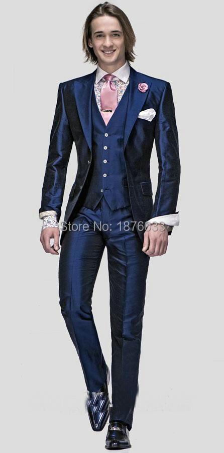 Hot Sale 2016 Navy Blue Shiny Slim Fit Men Wedding Suit Prom Dress ...