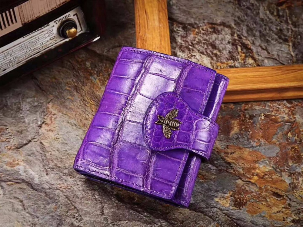 100% Genuine/Real crocodile skin leather bank card holder money cash case and wallet coin case metal bee decoration coin case new big brothers money cigarette card case box holder
