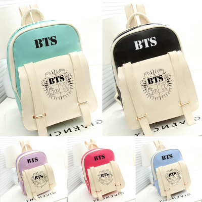 2017 HOT fashion Bangtan Boys knapsack New kpop star goods BTS PU schoolbag korea backpack student bags youpop kpop blackpink album laser pu bag jewelry admission package new fashion backpack bags sjb618