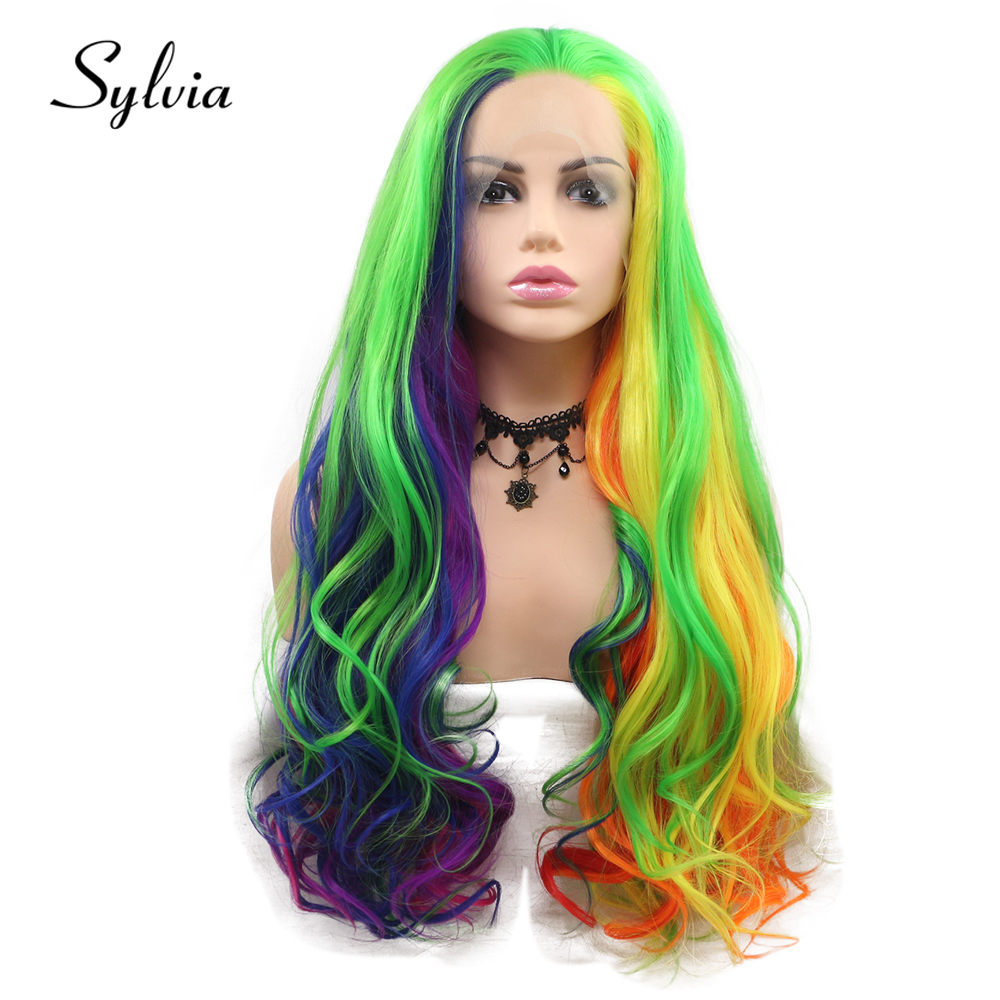 Sylvia Multi Colorful Body Wave Synthetic Lace Front Wigs Green Blue Pink Purple Red Yellow Orange