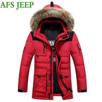 JEEP AFS גברים מעיל גברים מעיל עבה החורף חם מאוד רך כיס רב כותנה ארוך בסדר גודל גדול מעיל גברים מעיל מעיל ברווז 235