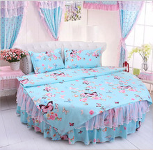 Round Bed Bedding kit super california king size BUTTERFLY luxury duvet cover wedding bedding 4pcs set pillowcase bedskrit